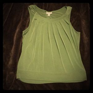 Olive Green pleated sleeveless blouse